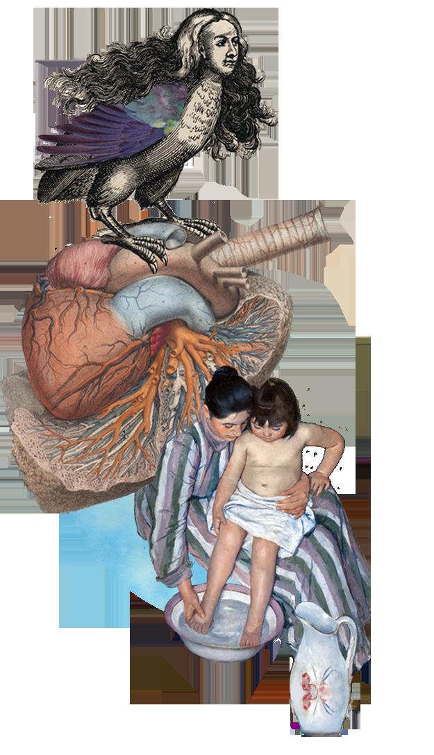 Nadrealni kolaž koji spaja crtež harpije, anatomsku ilustraciju srca i sliku žene koja u krilu drži dijete.