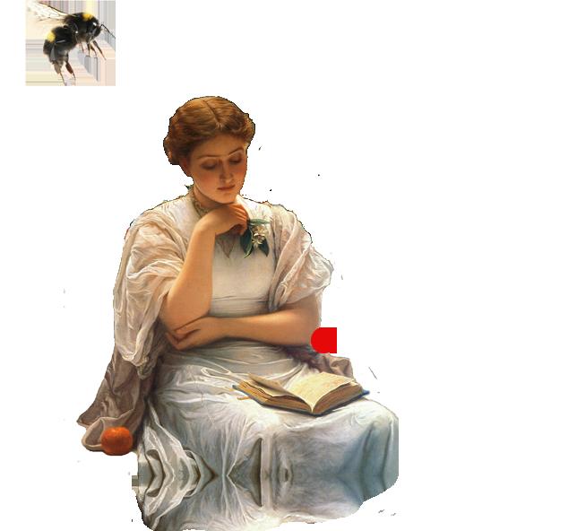 Kolaž naslikane žene koja čita knjigu koju drži u krilu dok nad njom leti veliki bumbar.