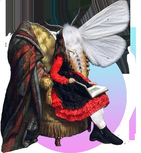 Kolaž naslikane mlade djevojke koja sjedi u fotelji i čita knjigu. Djevojka je pola čovjek a pola noćni leptir, a glava i prsa su joj dio tijela i jedno krilo bijelog leptira.