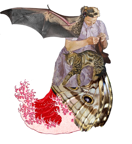 Nadrealistični kolaž naslikane žene kojoj je u krilu mačke. Žena ima veliko krilo šišmiša, a iz donjeg joj dijela tijela izlazi crveni val.