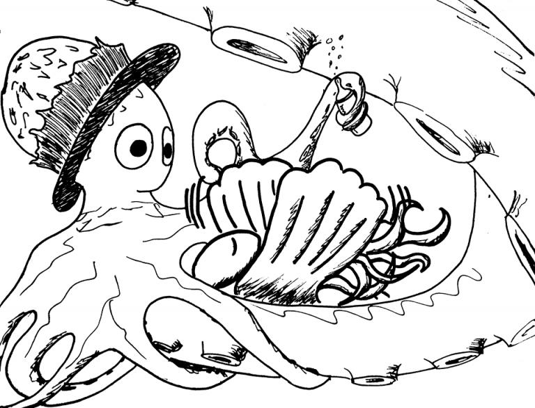 Crno-bijeli crtež hobotnice koja bebi hobotnici daje bočicu.