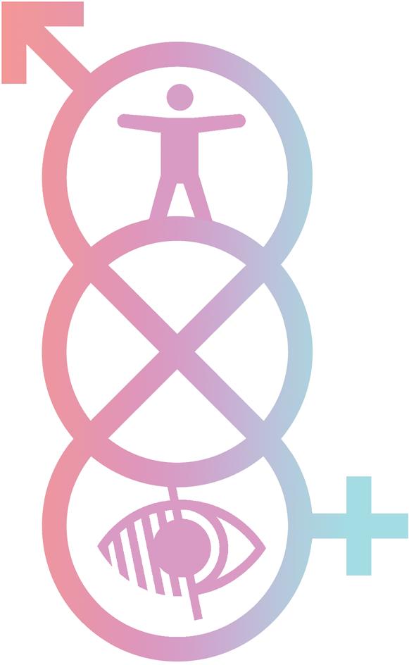 Kolaž koji spaja simbol za rodnu nebinarnost i simbole za web pristupačnost. Slijeva na desno koraljne, ljubičasto-roskaste i svijetloplave boje.