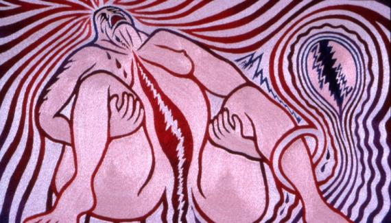 Slika u ružičastim i ljubičastim tonovima prikazuje ženu koja se vidno muči pri porodu