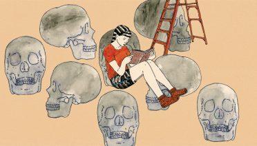 Crtež djevojke koja čita, na bež pozadini su ljestve i mrtvačke glave.