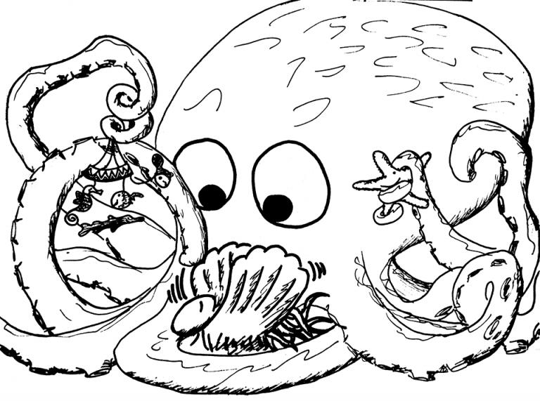 Crno-bijeli crtež hobotnice koja zabavlja bebu hobotnicu mobilom s morskim životinjama.